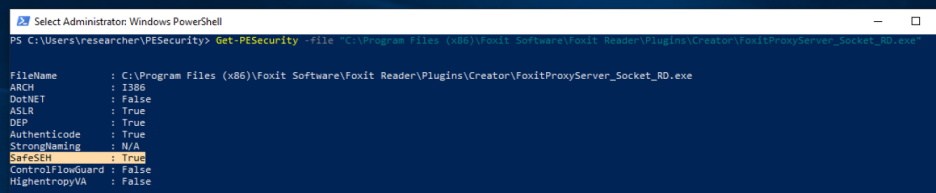 FoxitProxyServer_Socket_RD.exe is compiled with the SafeSEH mitigation
