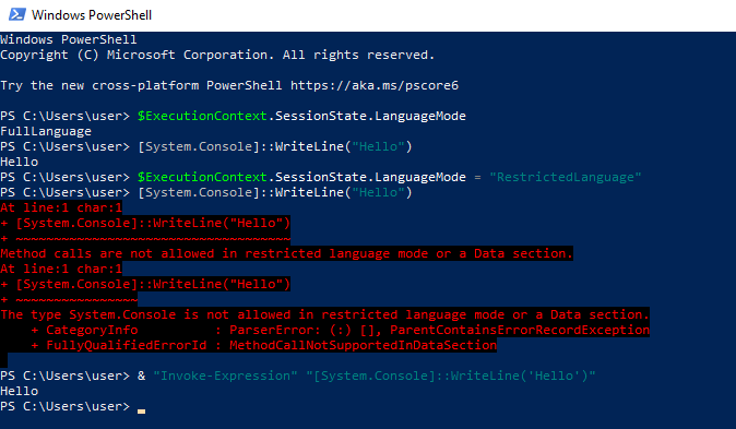 Escaping RestrictedLanguage mode in Powershell